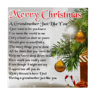 Grandmother poem - Christmas design Small Square Tile