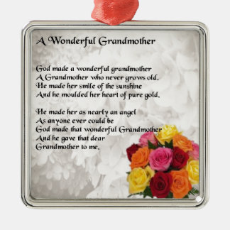 Grandmother Poem - Flowers Silver-Colored Square Decoration