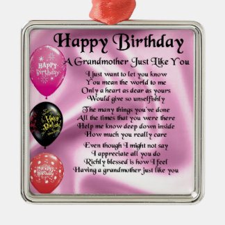 Grandmother Poem -  Happy Birthday Silver-Colored Square Decoration