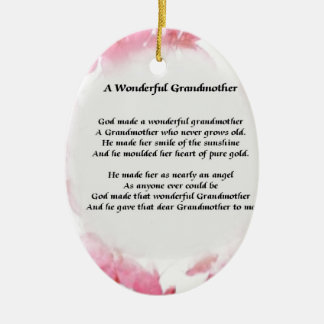 Grandmother Poem - Pink Floral Ceramic Oval Decoration