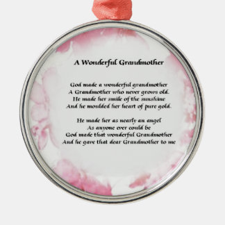 Grandmother Poem - Pink Floral Silver-Colored Round Decoration