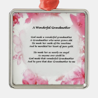 Grandmother Poem - Pink Floral Silver-Colored Square Decoration