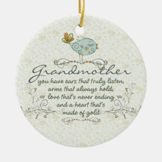 Grandmother Poem with Birds Christmas Ornament