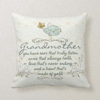 Grandmother Poem with Birds Cushion