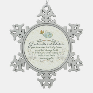 Grandmother Poem with Birds Pewter Snowflake Decoration