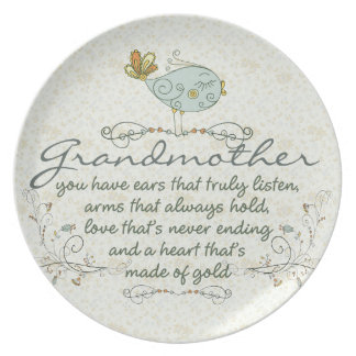 Grandmother Poem with Birds Plate