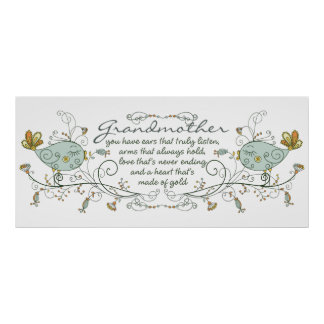 Grandmother Poem with Birds Poster