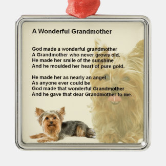 Grandmother Poem - Yorkshire Terrier Silver-Colored Square Decoration