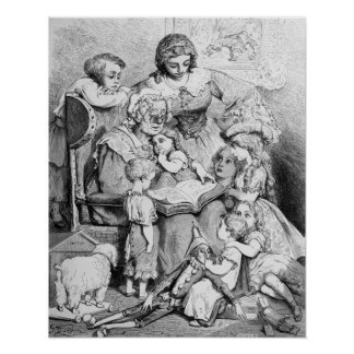 Grandmother telling a story to her print