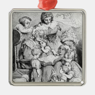 Grandmother telling a story to her Silver-Colored square decoration