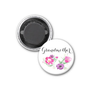 Grandmother Watercolor Flowers Magnet