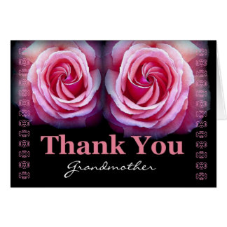 GRANDMOTHER - Wedding Thank You with Pink Roses Greeting Card