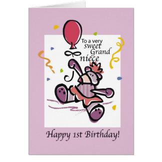 Grandniece 1st Birthday Bear Balloon, Girl Card