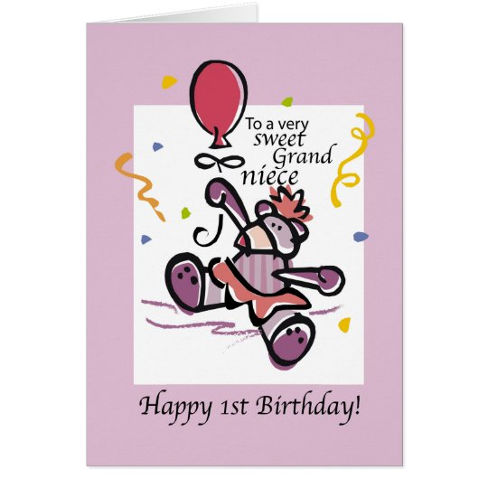 Grandniece 1st Birthday Bear Balloon, Girl Card