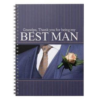 Grandpa best man thank you notebooks