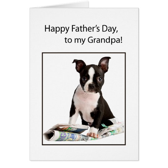 Grandpa Father's Day Funny Dog Newspaper Card