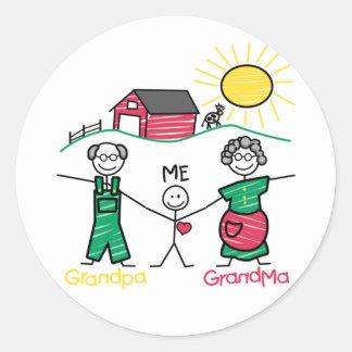 Grandpa Grandma & Me Classic Round Sticker