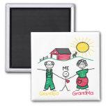 Grandpa Grandma & Me Square Magnet