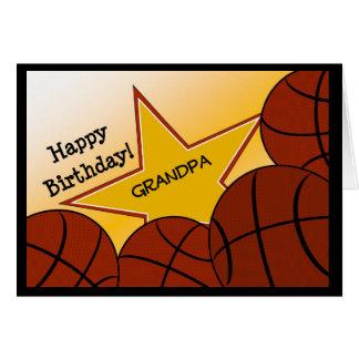 Grandpa - Happy Birthday Basketball Loving Greeting Card