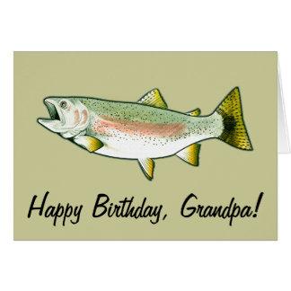 Grandpa Happy Birthday: Rainbow Trout Greeting Card