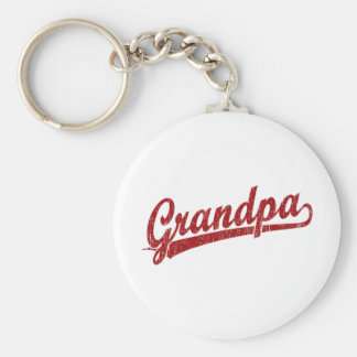 Grandpa in red basic round button key ring