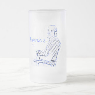 grandpa joe, Happiness is... Frosted Glass Beer Mug