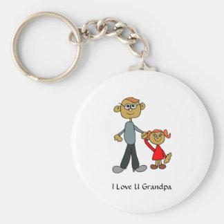 Grandpa_keychain ART(Personalize) Basic Round Button Key Ring
