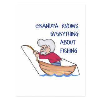 GRANDPA KNOWS ABOUT FISHING POSTCARD