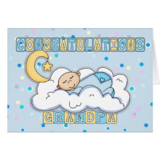 Grandpa New Baby Boy Congratulations Greeting Card