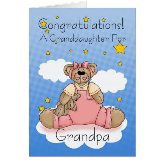 Grandpa New Baby Girl Congratulations Card