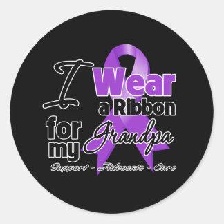 Grandpa - Pancreatic Cancer Ribbon Round Stickers