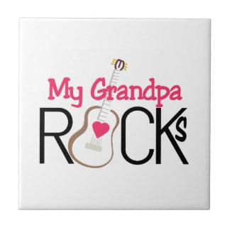 Grandpa Rocks Small Square Tile