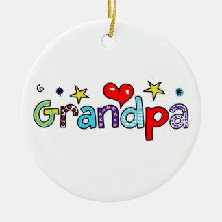 Grandpa Round Ceramic Decoration