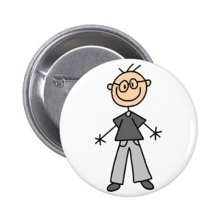 Grandpa Stick Figure Button