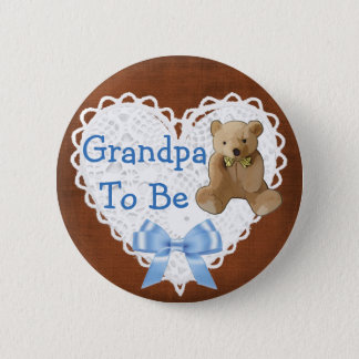 Grandpa to be Brown & Blue Lacy Baby Shower Button