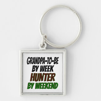 Grandpa To Be Hunter Silver-Colored Square Key Ring