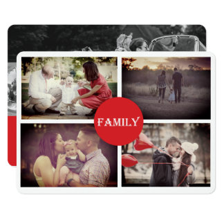 Grandparent 4 Family Holiday Photo Card