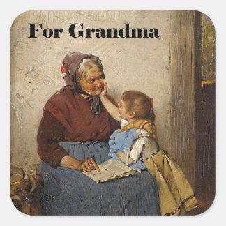 Grandparent's Day Grandma Granddaughter Painting Sticker
