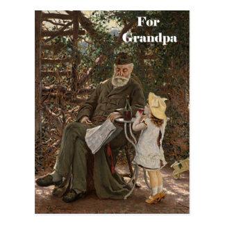Grandparent's Day Grandpa Granddaughter Painting Post Cards