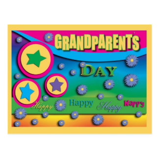 Grandparent s Day Stars and Blue Flowers Postcard