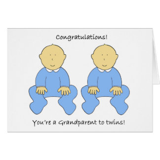 Grandparent to twin boys, Congratulations Greeting Card