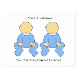 Grandparent to twin boys, Congratulations Postcard