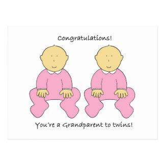 Grandparent to twin girls, Congratulations! Postcard