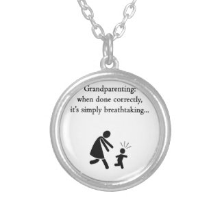 Grandparenting is Breathtaking Round Pendant Necklace