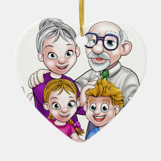 Grandparents and Children Ceramic Heart Decoration