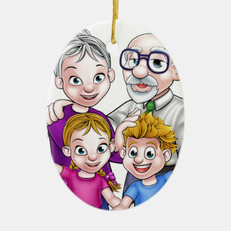 Grandparents and Children Ceramic Oval Decoration