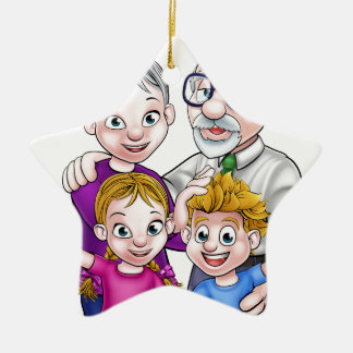 Grandparents and Children Ceramic Star Decoration
