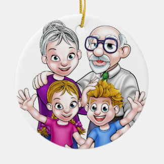 Grandparents and Children Round Ceramic Decoration