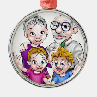 Grandparents and Children Silver-Colored Round Decoration