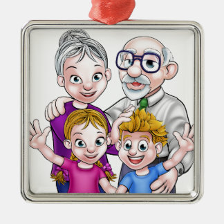 Grandparents and Children Silver-Colored Square Decoration